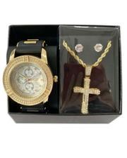 Jewelry & Watches - 3Pc Watch/ Cross Chain & Earrings Set-2657232