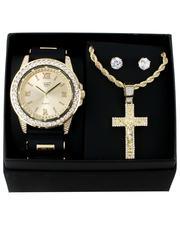 Jewelry & Watches - 3Pc Watch/ Crucifix Chain & Earrings Set-2657269