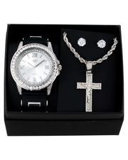 Jewelry & Watches - 3Pc Watch/ Crucifix Chain & Earrings Set-2657296