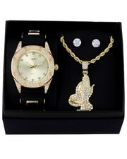 Jewelry & Watches - 3Pc Watch/ Praying Hands Chain & Earrings Set-2657336