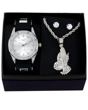 Jewelry & Watches - 3Pc Watch/ Praying Hands Chain & Earrings Set-2657408