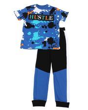 Sets - 2 Pc Hustle Splatter Print Tee & Color Block Jogger Pants (8-18)-2649453