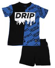 Sets - 2 Pc Two Tone Drip Tee & Solid Shorts Set (4-7)-2654432