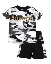 Sets - 2 Pc Savage Camo Print Tee & Camo Side Shorts Set (2T-4T)-2657730