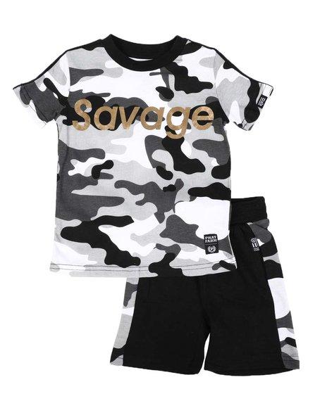 Phat Farm - 2 Pc Savage Camo Print Tee & Camo Side Shorts Set (2T-4T)