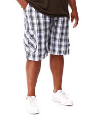 Big & Tall - Plaid Printed Cargo Shorts (B&T)-2660627