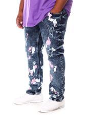 Big & Tall Faves - Paint Splatter Rip & Repair Denim Jeans (B&T)-2660352