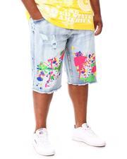 Big & Tall - Summer Vibes Splatter Denim Shorts (B&T)-2660539