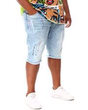 Big & Tall - Paint Splatter Denim Shorts (B&T)-2660692