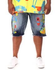 Shorts - Graffiti Paint Print Denim Shorts (B&T)-2660574