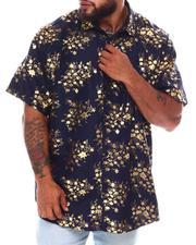 Button-downs - Abstract Floral Foil Print Short Sleeve Woven Shirt (B&T)-2663101