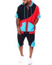 Makobi - Colorblock Half Zip Hoodie & Short Set (B&T)-2663239