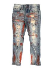 Arcade Styles - Rip & Repair Embroidered Paint Splatter Jeans (2T-7)-2661731