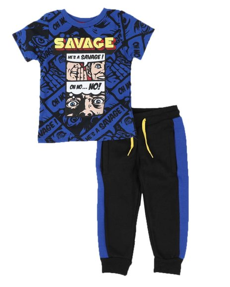 Arcade Styles - 2 Pc Savage Tee & Two Tone Jogger Pants Set (2T-4T)
