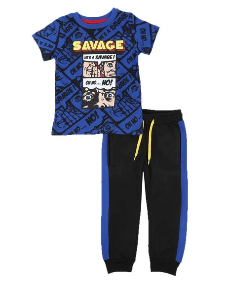 Arcade Styles - 2 Pc Savage Tee & Two Tone Jogger Pants Set (4-7)