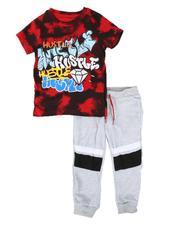 Arcade Styles - 2 Pc Hustle Tie Dye Tee & Jogger Pants Set (4-7)-2662483