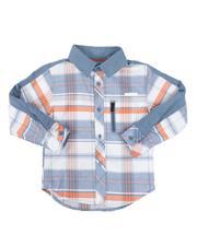 Arcade Styles - Plaid Long Sleeve Button Down Shirt (4-7)-2661534