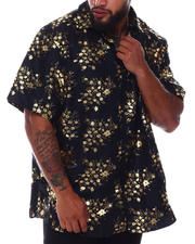Button-downs - Abstract Floral Foil Print Short Sleeve Woven Shirt (B&T)-2663114