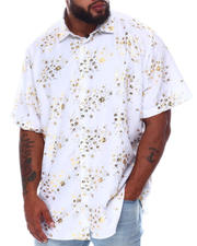 Button-downs - Abstract Floral Foil Print Short Sleeve Woven Shirt (B&T)-2663120
