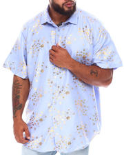 Button-downs - Abstract Floral Foil Print Short Sleeve Woven Shirt (B&T)-2663125