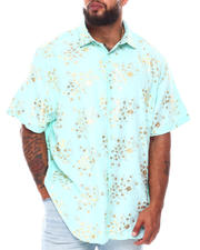 Button-downs - Abstract Floral Foil Print Short Sleeve Woven Shirt (B&T)-2663134
