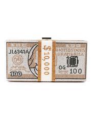 Fashion Lab - Rhinestone Money Design Clutch/ Crossbody Bag-2664126