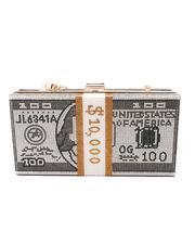 Fashion Lab - Rhinestone Money Design Clutch/ Crossbody Bag-2664178