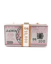 Fashion Lab - Rhinestone Money Design Clutch/ Crossbody Bag-2664179