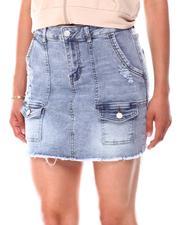 Skirts - Pork Chop Distressed  Cargo Denim Skirt-2660858