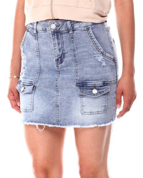 Fashion Lab - Pork Chop Distressed  Cargo Denim Skirt