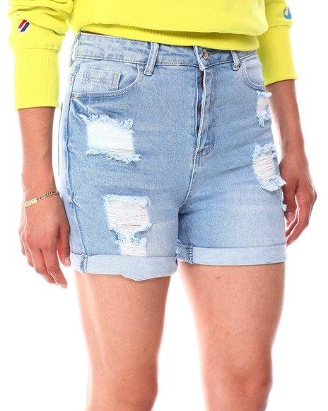 Fashion Lab - Distressed High Waist Roll Cuff Shorts