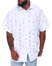 Button-downs - Nautical Foil Print Short Sleeve Woven Shirt (B&T)-2663160