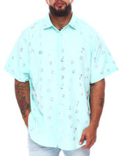 Button-downs - Nautical Foil Print Short Sleeve Woven Shirt (B&T)-2663173