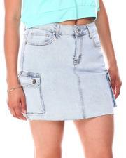 Fashion Lab - Cargo Pockets  Raw Hem Denim Skirt-2664775