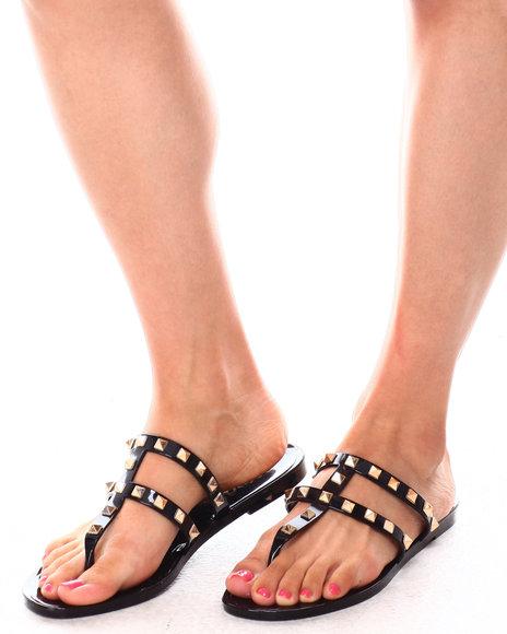 Fashion Lab - PAPAYA02L Studded Jelly Thong Sandals