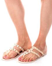Fashion Lab - PAPAYA02L Studded Jelly Thong Sandals-2653552