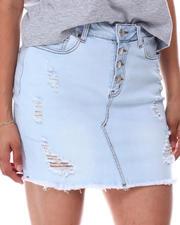 Fashion Lab - Distressed Frayed Hem Denim Skirt-2660831