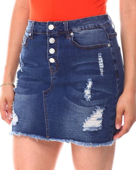 Fashion Lab - Expose Btn Distressed Frayed Hem Denim Skirt