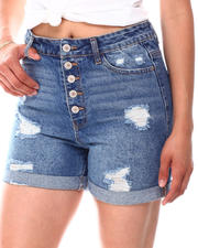 Fashion Lab - Expose Buttons  Distressed  Roll Cuff Shorts-2660885