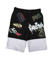Shorts - Two Tone Print Knit Shorts (8-20)-2664521