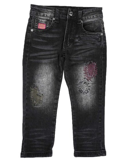 Born Fly - Distressed Color Stitch Jeans (4-7)