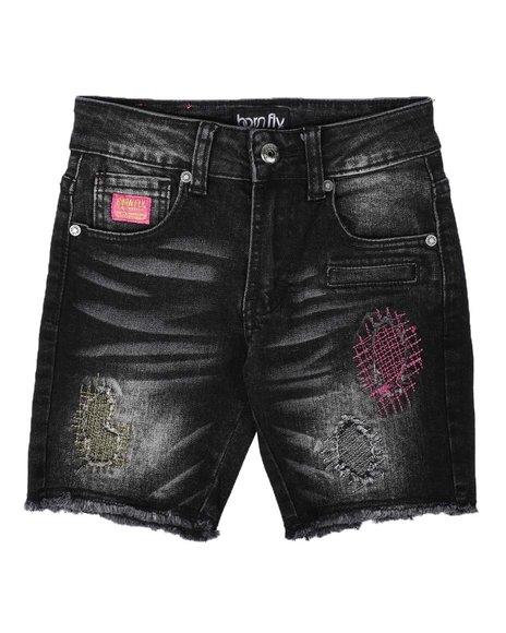 Born Fly - Distressed Color Stitch Denim Shorts (4-7)