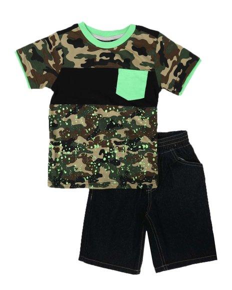 Arcade Styles - 2 Pc Color Block Tee & Denim Shorts Set (4-7)