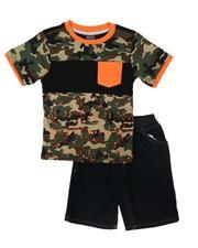 Arcade Styles - 2 Pc Color Block Tee & Denim Shorts Set (4-7)-2665696