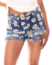 Fashion Lab - Printed Denim Shorts W/Frayed Edge  Edge-2668338