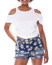 Fashion Lab - Shoulder Cutout Drawstring Side Top-2669310