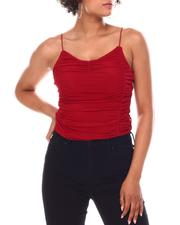 Fashion Lab - Sleeveless Front Ruched Mesh  Tank-2667352