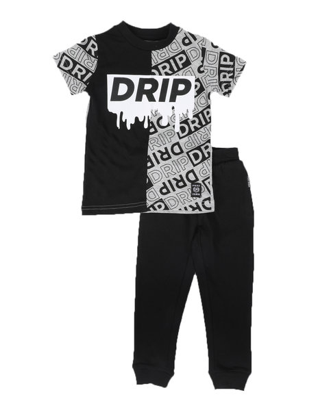 Phat Farm - 2 Pc Two Tone Drip Tee & French Terry Jogger Pants Set (2T-4T)