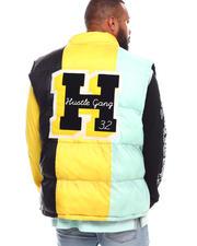 Hustle Gang - Shotgun Form Colorblock Puffer Vest (B&T)-2670058