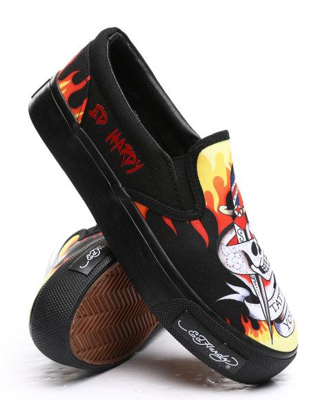 Ed Hardy - Skeleton Flames Slip On Sneakers